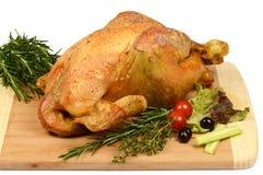 Aves de corral: Pollo asado rústico con romero Fotografía de archivo libre de regalías