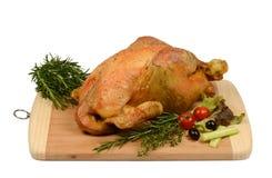 Aves de corral: Pollo asado rústico con romero Foto de archivo