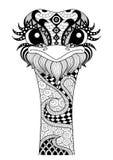 Avestruz dibujada mano del zentangle stock de ilustración