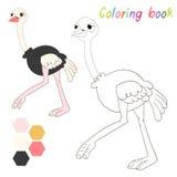 A avestruz do livro para colorir caçoa a disposição para o jogo Imagens de Stock Royalty Free