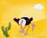Avestruz y arena libre illustration