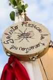 AVETRANA, ITALY - JUNE 16,2018 Tambourine for pizzica of Salento, national musical instrument, Salento, Apulia, Italy, vertical stock images