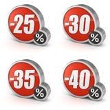Avfärda symbolen för den 25% 30% 35% 40% försäljningen 3d på vit bakgrund Royaltyfria Foton