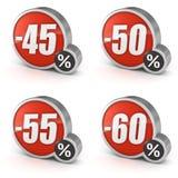 Avfärda symbolen för den 45% 50% 55% 60% försäljningen 3d på vit bakgrund Royaltyfri Foto