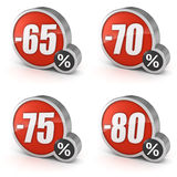 Avfärda symbolen för den 65% 70% 75% 80% försäljningen 3d på vit bakgrund Fotografering för Bildbyråer