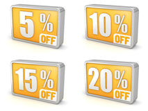 Avfärda symbolen för den 5% 10% 15% 20% försäljningen 3d på vit bakgrund Royaltyfri Fotografi