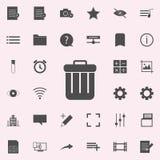 avfallasksymbol universell uppsättning för rengöringsduksymboler för rengöringsduk och mobil royaltyfri illustrationer