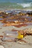 Avfalls ackumulerar på stranden arkivfoton