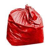 Avfalls röd plast- för avskrädepåsen med begrepp färgen av röda avskrädepåsar är giftligt farligt som isoleras på vit bakgrund royaltyfri bild