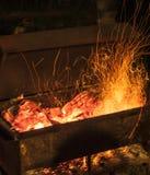Avfyra för grillfest Arkivbilder