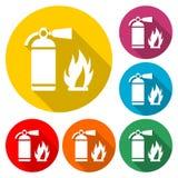 Avfyra teckenvektorn, brandsläckaresymbolen, färgsymbol med lång skugga royaltyfri illustrationer