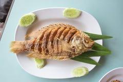 Avfyrad fisk med fishsauce Royaltyfria Foton