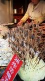 avfyrad skorpion i Pekingmatmarknad royaltyfri fotografi