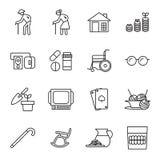 Avgång gamla människor symbolsuppsättning Arkivfoto