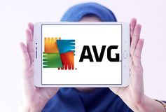 AVG Technologies company logo. Logo of AVG Technologies company on samsung tablet n holded by arab muslim woman. AVG Technologies is a security software company Stock Photos
