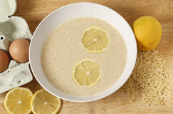 Avgolemono egg and lemon soup Royalty Free Stock Images