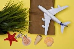 Avião, agenda, shell de estrela e planta verde com o shell dos ganhos líquidos decorado fotografia de stock royalty free