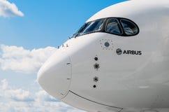 Avião Airbus A350 XWB da demonstração Rússia, Moscovo Em julho de 2017 Fotos de Stock