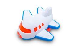 Avião azul e branco plástico do brinquedo Fotos de Stock