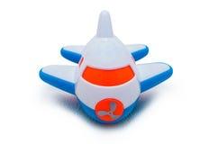 Avião azul e branco plástico do brinquedo Imagem de Stock