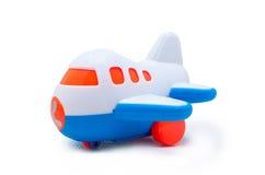 Avião azul e branco plástico do brinquedo Fotografia de Stock Royalty Free