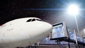 Avião colado no aeroporto devido à queda de neve pesada video estoque