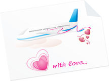 Avião com corações. Espaço em branco da mensagem Fotos de Stock