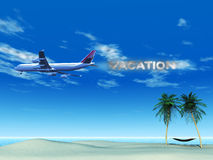 Avião com o fumo que soletra a palavra ilustração do vetor