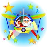 Avião com Papai Noel e Rudolf Imagem de Stock
