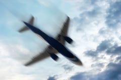 Avião com problemas: Conceito - movimento borrado Fotografia de Stock Royalty Free