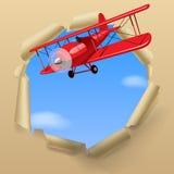 Avião com uma bandeira ilustração stock