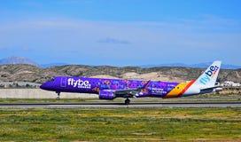 Avião comercial de Flybe Boa vinda à pintura Sceme de Yorkshire fotos de stock