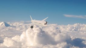 Avião comercial em voo, voo plano acima das nuvens ilustração royalty free