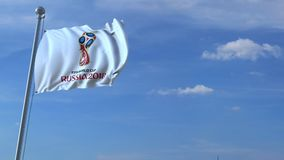 Avião comercial grande que viaja a Rússia sobre a bandeira de ondulação com logotipo 2018 do campeonato do mundo de FIFA animação filme