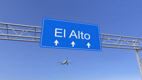 Avião comercial que chega ao aeroporto de El Alto Viagem à rendição 3D conceptual de Bolívia Foto de Stock