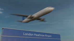 Avião comercial que descola na animação 4K conceptual do aeroporto de Londres Heathrow 3D ilustração royalty free