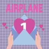 Avião da exibição do sinal do texto Veículo conceptual dos aviões da foto projetado para o transporte aéreo do curso ilustração royalty free
