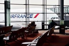 Avião de Air France A380 em Charles de Gaulle International Airp Imagem de Stock