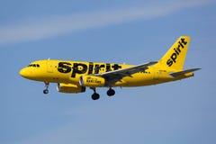 Avião de Airbus A319 das linhas aéreas do espírito Fotos de Stock Royalty Free