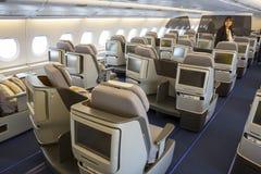 Avião de Airbus A380 dentro dos assentos Imagens de Stock Royalty Free