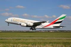 Avião de Airbus A380 dos emirados Foto de Stock Royalty Free