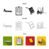 Avião de carga, carro para o transporte, caixas, empilhadeira, originais Logístico, ajuste ícones da coleção em preto, liso, esbo Fotografia de Stock