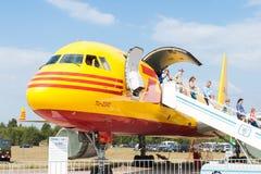 Avião de carga da Turquia 204C do Tupolev na exposição no aeródromo de Zhukovsky Fotos de Stock Royalty Free