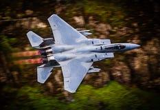 Avião de combate nos dispositivos de pós-combustão completos do reaquecimento Fotos de Stock Royalty Free