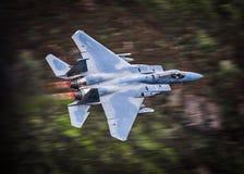 Avião de combate nos dispositivos de pós-combustão completos do reaquecimento Fotografia de Stock Royalty Free