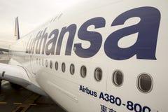 Avião de Lufthansa Airbus A380 Fotografia de Stock Royalty Free