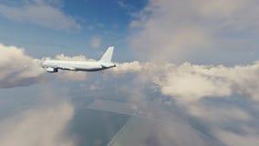Avião de passageiros alto na opinião traseira do céu ilustração royalty free