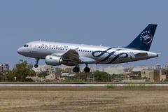 Avião de passageiros checo em cores de Skytem Fotos de Stock Royalty Free