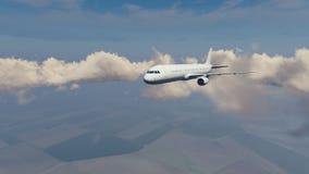 Avião de passageiros do passageiro alto no céu ilustração stock