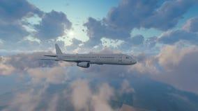 Avião de passageiros do passageiro alto no céu nebuloso ilustração stock
